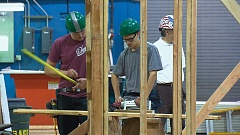 Photo Credit: COURTESY: OLE OLSEN, KOIN 6 NEWS - ACE Academy Charter School students were on hand late last month when Kenneth Simonson, chief economist for American General Contractors of America delivered the results of a survey, which showed the need for craft workers.