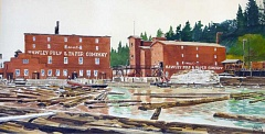 Photo Credit: SUBMITTED PHOTO: CCHS - Charles Mulveys watercolor of Hawley Pulp & Paper Company, originally commissioned by Publishers Paper Company.