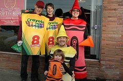 Photo Credit: ESTACADA NEWS PHOTO: ISABEL GAUTSCHI - Check out this family of crayons: Chuck (back, from left), Dee Dee, Erin, Charles (front) and Abigaile Brittle picked colorful costumes.