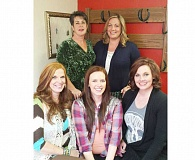 Photo Credit: SUBMITTED - Salon owners, from front left, Teresa Baggett and daughters Ashton DuPont and Kortney Collier. Back left, Di Green and Ashley Anderson.