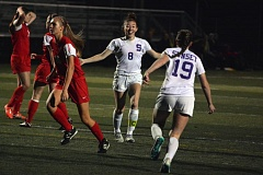 Photo Credit: TIMES PHOTO: MATT SINGLEDECKER - Sunset senior Alex Bibo and sophomore Sydney McRae celebrate Bibos second goal of the game in the 6A state quarterfinals against Lincoln on Saturday.
