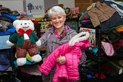 Pastor Peggy Dickerson encourages the community to donate coats, nonperishable food and toys for those in need this winter. Donations are needed by Dec. 12, as the coats, food and toys will be distributed Dec. 16.