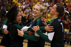 Photo Credit: TIMES PHOTO: JONATHAN HOUSE  - Jesuit senior Symone Tran, Elise Krippaehne and Lexi Dixon celebrate the Crusaders 2014 state championship triumph over Central Catholic on Saturday. Tran led the Crusaders with 37 assists and was named to the first-team all tournament squad.