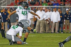 Photo Credit: COURTESY OF ERIC EVANS - Aidan Schneider, a freshman walk-on kicker from Grant High who was more of a soccer player for the Generals, has made 5 of 5 field-goal attempts for the Oregon Ducks.