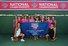 Photo Credit: SUBMITTED -     A womens tennis team from the Clackamas River Racquet Club made the finals of the recent U.S. Tennis Association Adult 40-and-over 4.0 Division National Championships in Racho Mirage, Calif. Pictured are members of the standout team: (front, left to right) Fumiyo Nishimoto and Anna Low (team co-captain); and (back, left to right) Annette Zack, Brenda Windsor, Christy Hughes, Linda Fletcher, Mary Sides, Karen Sullivan, Tami Oglesby, Liz Mitchell, Babette Zielinski (team co-captain), Jennifer Simmons, Kim Montagriff, Bo Yu and Janice Low.