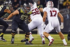 Photo Credit: COURTESY OF UNIVERSITY OF OREGON - Doug Brenner, from Jesuit High, has stepped in at center for the Oregon Ducks, who lost standout Hroniss Grasu to injury last week at Utah. He or Hamani Stevens could be making snaps this week.