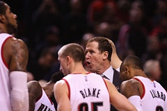 Blazers coach Terry Stotts shouts instructions during a timeout Monday night at Moda Center, where Portland overcame a 16-point, third-quarter deficit to defeat the New Orleans Pelicans 102-93.