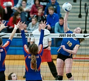 Photo Credit: LON AUSTIN/CENTRAL OREGONIAN - Karlee Hollis goes up for a kill against Hidden Valley during the quarterfinals of the state tournament. Hollis is one of just three Cowgirls off of this year's team to graduate.