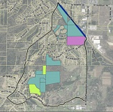 (Image is Clickable Link) Photo Credit: COURTESY OF GRESHAM - A map of publicly owned tax lots on Hogan Butte in southeast Gresham. Light blue is for the City of Gresham, Green is for Metro, Pink is for City-Metro joint property and dark blue is for city of Portland property. In all there are 110.94 acres.