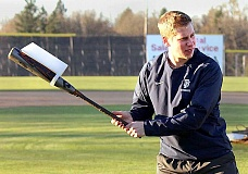 Photo Credit: SUBMITTED - Innovation - George Fox University baseball player Ian Skiles created the Swing King. While raising money via Kickstarter for his project, he's developing a corrective aid for baseball swings.