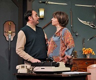 Photo Credit: CONTRIBUTED PHOTO: MICHAEL HENLEY - Matt Rathbun and Kyra Hobart portray Sidney and Myra Bruhl. Rathbuns character plots to murder a collegue to take credit for his newly written play, Deathtrap.