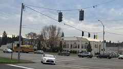 Photo Credit: MARK MILLER - The intersection of Maple Street and Highway 30 by Scappoose Middle School, as viewed from the northeastern corner of the junction. Two boys were hit by a car while crossing the highway across from their school last Friday, Nov. 14.