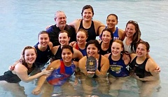 Photo Credit: SUBMITTED PHOTO - The Madras Aquatic Center girls water polo team won the Class 5A/4A state water polo tournament on Saturday at the Osborn Aquatic Center in Corvallis for the first time ever. The team, coached by Doug Calvin, beat Parkrose 15-5 for the title. The team and coaches include: back row, left to right, coach Doug Calvin, Maya Hoaglin, Thyreicia Simtustus, and Melissa Smith, assistant coach; center, Sophie Gemelas, Aurora Gerhardt, Melissa Field, and Ashtin Boston; and front, Amanda Barrett, Shania Tom, Cirelle Frank, Mikayla Weinke, and Shawntana Smith.