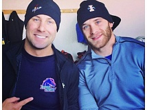 Photo Credit: SUBMITTED PHOTO - Mick Cunningham and Sam Michener (right) are members of Team USA's second sled heading into the winter sports season next month. The two were college track rivals briefly in the sprints at Boise State and Idaho.