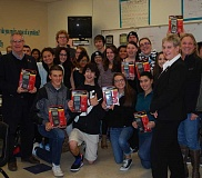 Photo Credit: COURTESY PHOTO - Hillsboro Rotary Club last week donated 34 graphing calculators to Hillsboros four high schools and Miller Education Center. Pictured here are Century High School students receiving their classroom calculators. Rotary community service chair Donna Bosak said club members wanted to do something for the high schools since elementary schools are the beneficiaries of many school supply drives each September. Rotary members raised $1,500 and the district foundation matched the money with a grant. Each of the high schools received 8 calculators and Miller received two. Hillsboro Rotary also funds several scholarships each spring for local graduates seeking  two-year technical degrees.
