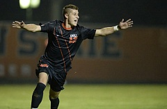 Photo Credit: COURTESY OF KARL MAASDAM - Oregon State freshman Jordan Jones celebrates his goal in the 17th minute Thursday as the Beavers defeat Denver 1-0 in the NCAA playoffs.