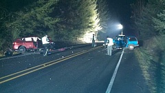 Photo Credit: MCSO - Police respond to a three-car accident that claimed the life of one woman Thursday night.