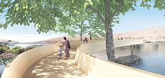 Maya Lin's proposed 'Celilo Arc' includes an elevated wooden walkway that projects over the Columbia River. Lin says the design is inspired by the wooden fishing platforms that once jutted over Celilo Falls.