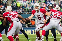 Photo Credit: COURTESY OF MICHAEL WORKMAN - Drew Stanton runs a play for the Arizona Cardinals in their 19-3 NFL road loss Sunday to the Seattle Seahawks.