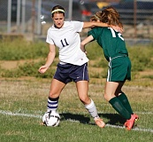 Photo Credit: NEWS-TIMES PHOTO: CHASE ALLGOOD - Banks senior emily vandehey (11) was a fi rst team cowapa league allstar selection this season after leading the Braves with seven goals.