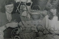 Photo Credit: ARCHIVE PHOTO - 1984: Basket weavers Marg Moon (left) and Ellen Franck of Estacada wove seagrass into baskets during a craft sale.