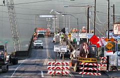 Photo Credit: PORTLAND TRIBUNE FILE PHOTO - works continues on the Sellwood Bridge replacement project.