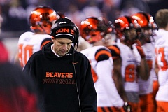 Photo Credit: COURTESY OF DAVID BLAIR - Coach Mike Riley ponders the flow of the Civil War game Saturday at Reser Stadium, a 47-19 loss to Oregon that figures to prompt some internal changes for Oregon State before the 2015 season.