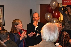 Photo Credit: PHOTO BY: ANGELA FOX - Clackamas Community College President Joanne Truesdell celebrates the results of the Nov. 4 election with former state Rep. Dave Hunt and CCC board members at The Bomber restaurant.
