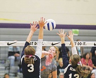 Photo Credit: PIONEER FILE  PHOTO - One of the 701 kills Culver's Shealene Little puts away this season was this one against Kennedy at the 2A state tournament last month. Little was named 2A Player of the Year for a second time. She won the award in 2012.