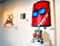 Photo Credit: GARY ALLEN - Fun - James DeRosso's whimsical monster ceramic pieces and paintings opened Nov. 28 at Art Elements Gallery on First Street.