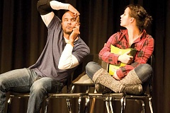 Photo Credit: KEVIN SPERL - Jason Sanford and Erin O'Connor performed a series of skits at Crook County High School as part of the Oregon Shakespeare's Festival's school education tour on Wednesday.