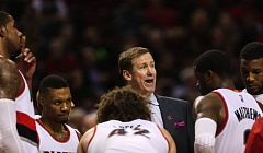 Photo Credit: COURTESY OF DAVID BLAIR - The Trail Blazers and coach Terry Stotts talk things over during a timeout as they struggle to their 15th win in 19 games this season. Portland beat Indiana 88-82 Thursday night at Moda Center.
