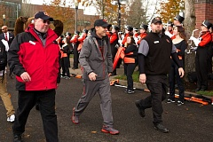 Photo Credit: COURTESY OF DAVID BLAIR - In what would be the final game of his second run as Oregon State football coach, Mike Riley walks to Reser Stadium last Saturday, Nov. 29, for the Beavers' Civil War game against Oregon.