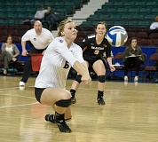 Photo Credit: PHOTO COURTESY OF HEIDI WOOD - Hannah Troutman digs a ball during the Oregon State victory over University of Arkansas-Little Rock during the NCAA Volleyball Tournament. Troutman and the Beavers play No. 1 ranked Stanford Friday at 3 p.m. in the round of 16.