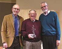 Photo Credit: COURTESY OF SILVERTON HEALTH - Warde Hershberger accepts the award from board member Bob Engle (left) and CEO Rick Cagen.