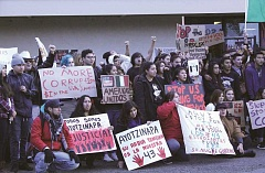 Photo Credit: TYLER FRANCKE | WOODBURN INDEPENDENT - About 60 Woodburn high schoolers joined other protesters Wednesday for a demonstration against violence and corruption in Mexico.