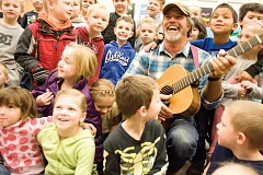 Photo Credit: KEVIN SPERL - Singer/songwriter Keith Greeninger spent the day at Cecil Sly Elementary talking to students about making music.