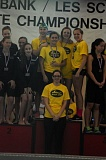 Photo Credit: MATTHEW SHERMAN - Laura Laderoute, Kyle Norris, Brianna Dyrdahl and Robin Pinger won the state title in the 200 medley relay last year and all four swimmers return this season.