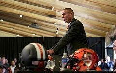 Photo Credit: TRIBUNE PHOTO: JONATHAN HOUSE - Gary Andersen, new Oregon State football coach, vows to have an aggressive team, and says hell recruit players to Corvallis in part by telling them that it's a 'safe environment.'