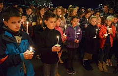 Photo Credit: REVIEW PHOTO: VERN UYETAKE - About 200 community members lit candles for Lake Oswego Junior High sixth-grader Thomas Graham.