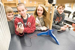 Photo Credit: KEVIN SPERL - Crook County Middle School seventh-graders Mason Engstrom, Jesse Hance, Jasmine Timmer, and Xavier Layne were among the 23 students that took part in last Saturday's Kidwind turbine challenge at the school.