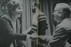 Photo Credit: ARCHIVE PHOTO - 1984: Marian West, newly appointed to the Estacada City Council, shakes hands with new Councilman Bob Newman. Councilman Terry Brown is in the background.