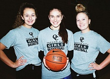 Photo Credit: JOHN DENNY - Oregon City team captains (from left) Taylor Shaw, Cierra Walker and Kaitlynn Donaca say that the Pioneers are still figuring things out as they blend players new to their varsity roster with returnees from last years state championship team. But they still believe the Pioneers will be contenders for the state championship in 2015.