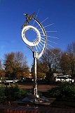 Photo Credit: COURTESY PHOTO - Fly with the Sun II, a metal sculpture created by artist Jesse Swickard of Sherwood, is now on display at the corner of Southeast Second Avenue and  Washington Street in Hillsboro.