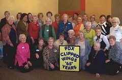 Photo Credit: COURTESY OF BARB LANCE - Members of the Portland chapter of Clipped Wings who met at the Summerfield Clubhouse on Nov. 8 included a 100-year-old stewardess who flew in 1937.