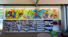 Photo Credit: HILLSBORO TRIBUNE PHOTO: CHASE ALLGOOD - A mural at the Shute Park branch of the Hillsboro library now stands out colorfully in the childrens section.