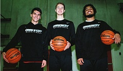 Photo Credit: JOHN DENNY - Oregon City senior captains (from left) Mason Martin, Austin DeWitz and Chris Mengis believe the Pioneers have the horses to be competitive in the highly competitive Mt. Hood Conference this winter. The Pioneers will be tested this Friday, when they meet former Three Rivers League rival Clackamas on the road.