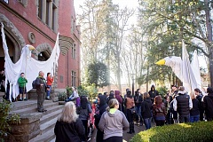 Photo Credit: NEWS-TIMES FILE PHOTO - Students line the steps of Marsh Hall at Pacific University and listen to speakers during last years Martin Luther King Jr. Day celebration in Forest Grove.