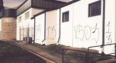 Photo Credit: PHOTO COURTESY OF CITY OF WOODBURN - The Woodburn Aquatic Center was one of a number of buildings downtown and throughout the city affected by a recent outbreak of gang-related graffiti.