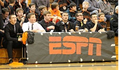 Photo Credit: JIM BESEDA/MOLALLA PIONEER - ESPN/Molalla reporters Drew Vandenbroeder, Tayler Delmore, Mont Child, Ty Delbridge, Austin Alexander and Dalton Kibbons look to inspire the Indians during the first half of Tuesday's 54-41 boys' basketball loss to Astoria at Capasso Court.
